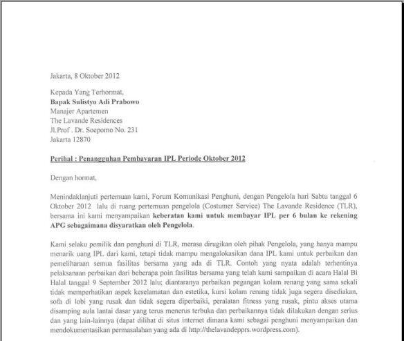 Surat Komplain Transparansi Pppsrs The Lavande Residences