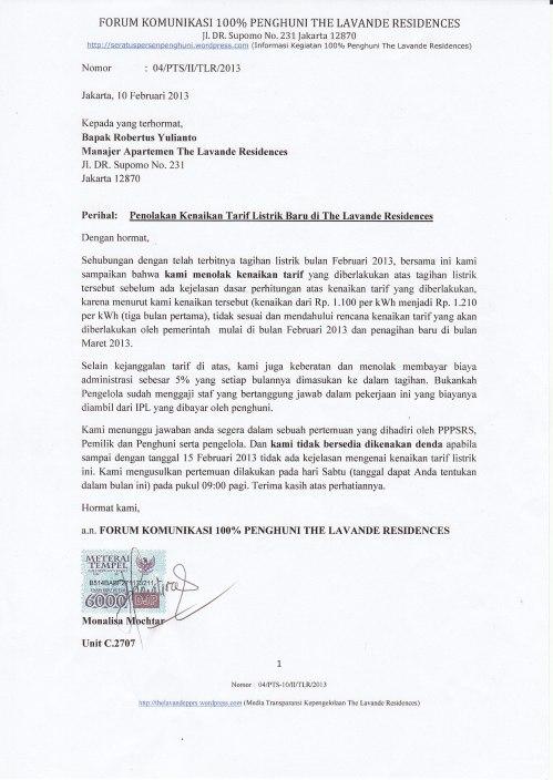 Penolakan Tarif Listrik The Lavande 2013_0001