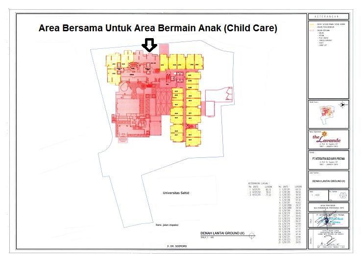 Denah Pertelaan Area Bersama Lantai GF The Lavande Residences