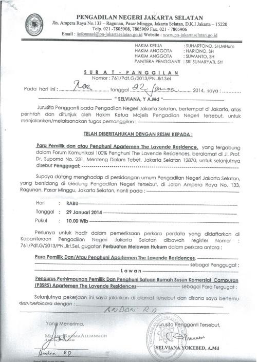 Surat Panggilan Sidang Forkom 100% Lavande - Pengadilan Negeri Jakarta Selatan