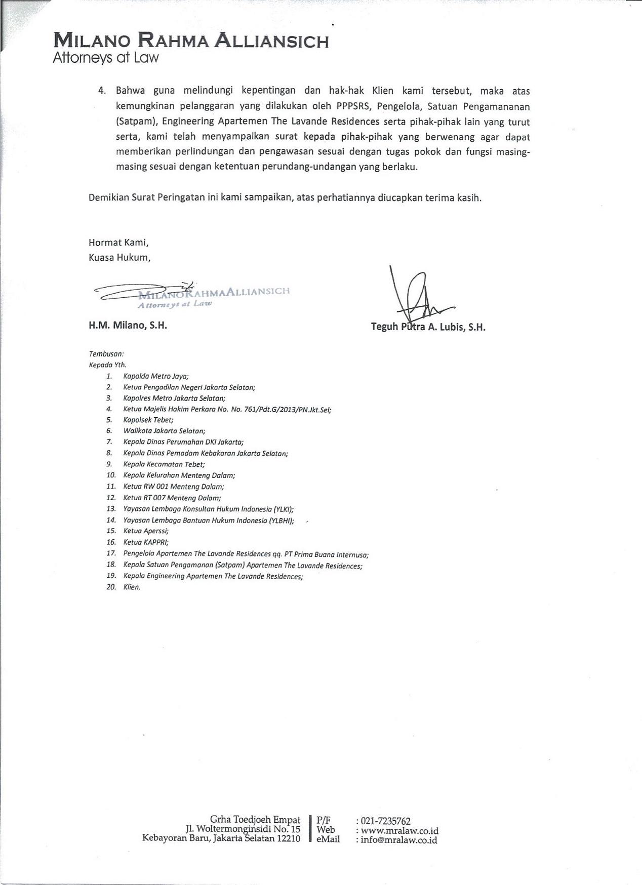 Surat Peringatan Transparansi Pppsrs The Lavande Residences