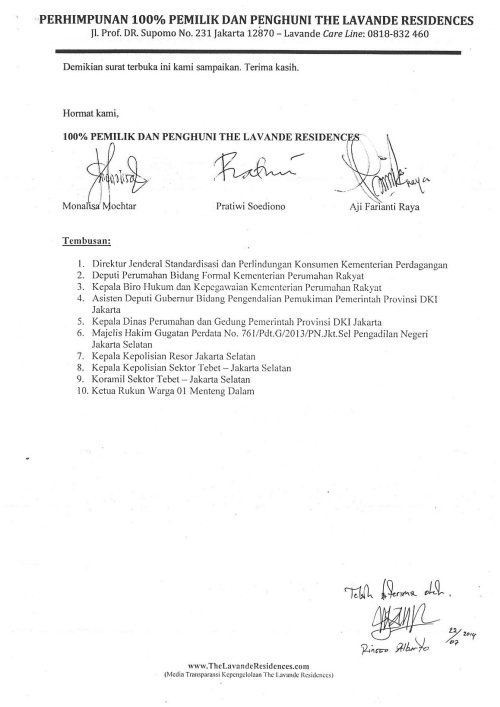 Surat Terbuka Untuk Ketua, Sekretaris dan Bendahara P3SRS The Lavande Residences 23 Juli 2014 C