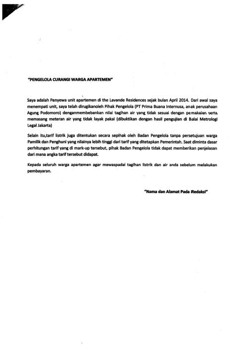 Pengelola Curangi Warga Apartemen - Surat Pembaca Kompas
