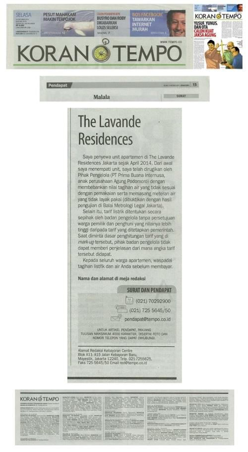 Surat Pembaca - The Lavande Residences - Koran Tempo 14 Oktober 2014 - Pendapat