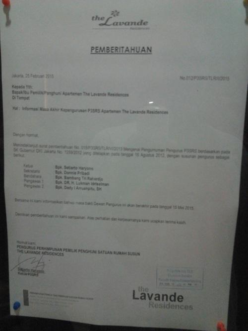 Informasi Masa Akhir Kepengurusan P3SRS Apartemen The Lavande Residences